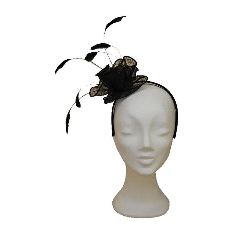 Fejdísz - hajráfos fekete tollas fejdísz
