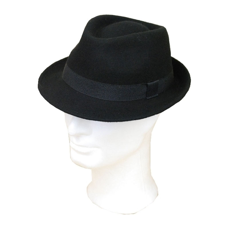 Kalap -   - fekete kiskarimás férfi gyapjú kalap