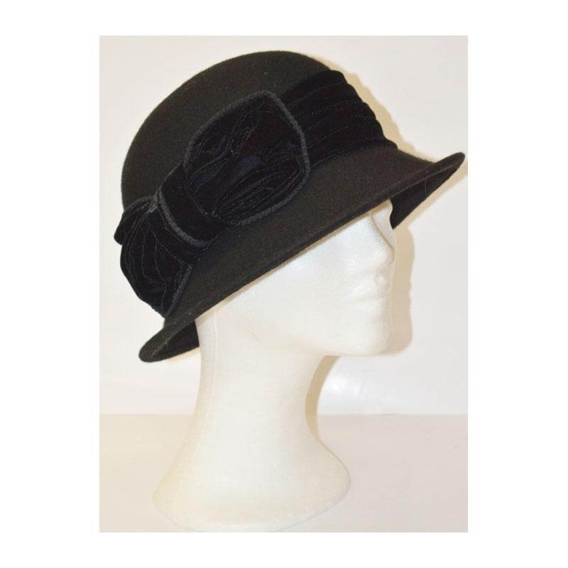 Kalap - bársony masnis fekete női gyapjú kalap  98291a02af