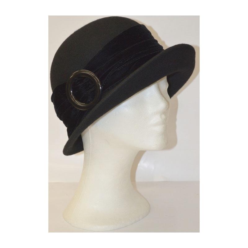 Kalap - fekete női gyapjú kalap
