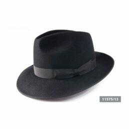 11575 fekete nagykarimás férfi nyúlszőr kalap