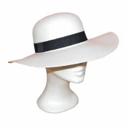 Kalap -  fehér fekete szalagos női szalma kalap