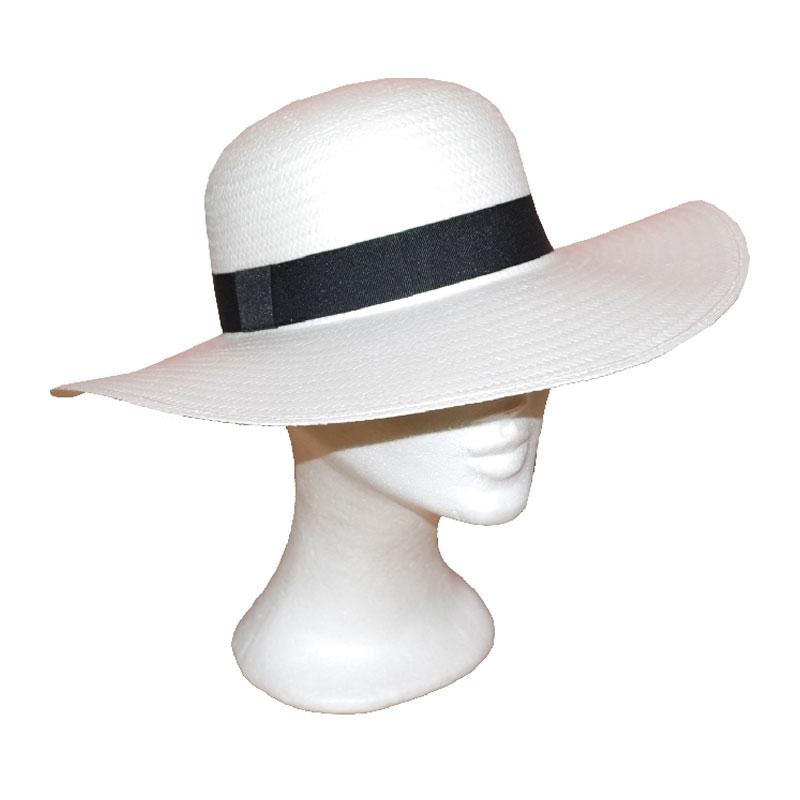 Kalap - fehér fekete szalagos női szalma kalap 50ddec439f