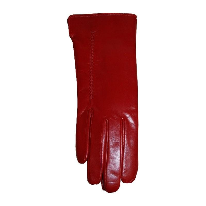 Kesztyű - női piros 014 bőr kesztyű