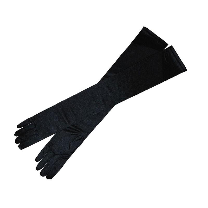 Fekete hosszú szatén kesztyű