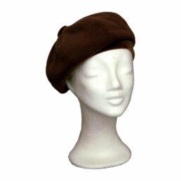 KOTRÁS barna bársonnyal női barett sapka