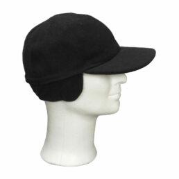 KOTRÁS fekete gyapjú szövet füles baseball sapka