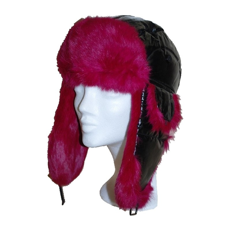 Sapka - fekete-pink nyúlszőrrel usánka sapka  2634794fe1