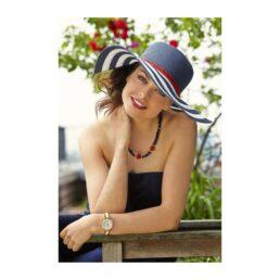 Betmar Demetria-fehér/s.kék női szalma kalap