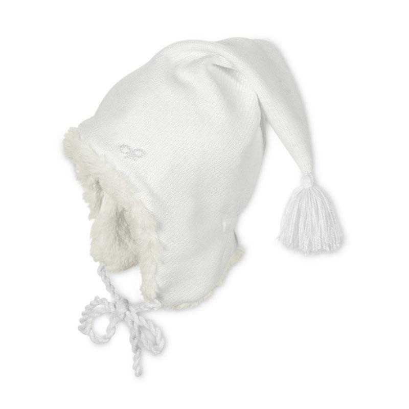 STERNTALER fehér bojtos téli gyerek sapka