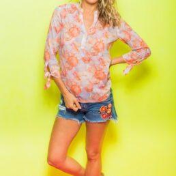 Emily Van den Bergh narancs mintás blúz