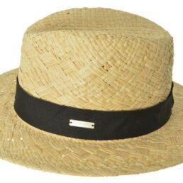SEEBERGER natur fekete szalaggal férfi szalma kalap