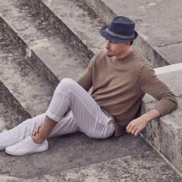 SEEBERGER kék kiskarimás férfi szalma kalap