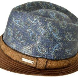 SEEBERGER kiskarimás kék-barna mintás férfi szalma kalap