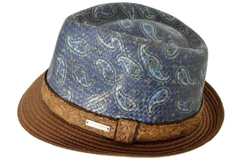 SEEBERGER kiskarimás kék-barna mintás férfi szalma kalap 9ca6977343