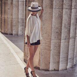 SEEBERGER krém-fekete traveller női szalma kalap
