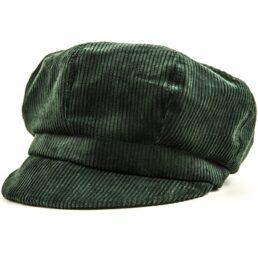 Kotrás zöld kordbársony női cikkes sapka