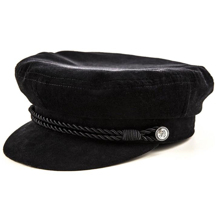 Kotrás Baker Boy Cap női franciabársony fekete sapka  a3dd9be28a