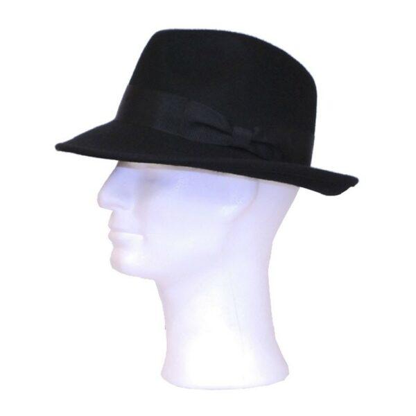 Kalap -  fekete nagykarimás férfi gyapjú kalap