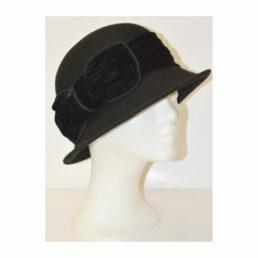 Kalap - bársony masnis fekete női gyapjú kalap
