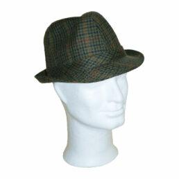 KOTRÁS zöld kockás szövet kalap