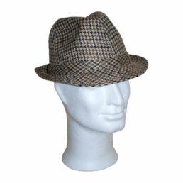 KOTRÁS drapp kockás szövet kalap