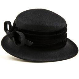női fekete gyapjú kalap