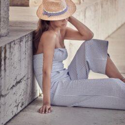 SEEBERGER traveller kék csíkos pánttal női szalma kalap