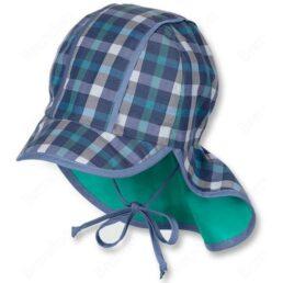 sterntaler kék zöld kockás gyerek sapka