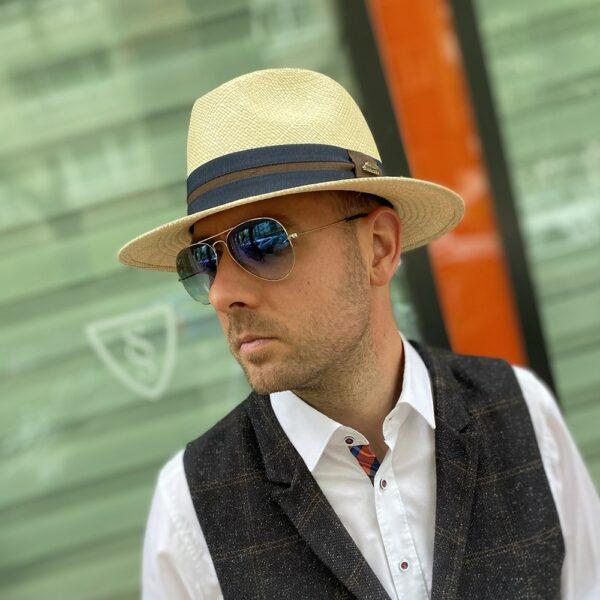 panama kalap kék szalagos