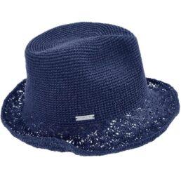 seeberger horgolt szalma kalap kék